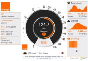 test de débit Orange cameroun nPerf